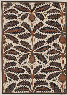 Sample of cotton batik with design of clusters of stylized leaf forms in dark blue and brown on a natural ecru ground.