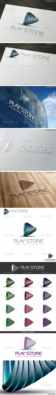 3D Play Store Logo Template  #GraphicRiver        A unique 3D play sign logo  Can easly fit to many busines
