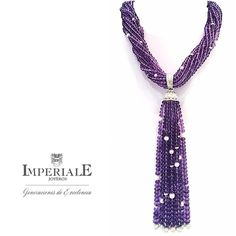 "imperialejoyerosNew Heights in Fine Jewelry. Envy pieces. ""Tassel"" type necklace made by amethysts in cabochon and diamond cut. Exclusive to Imperiale. #ExcelenceGenerations"
