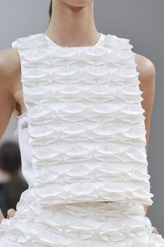 Origami Fashion - amazing use of fabric manipulation for fashion - 3D origami fabric; innovative textiles design; white on white textures // J.W Anderson