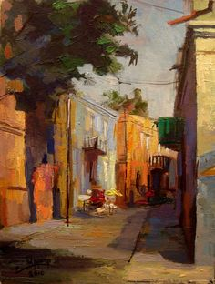 Sityscape oil painting original painting free shipping by ArtATTO, $240.00