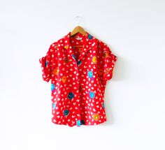 Vintage Colorful Rose Blouse / Bright Red Floral Boxy Blouse / Vintage Floral Top / Bold and Colorful Floral Blouse by thehappyforest on Etsy