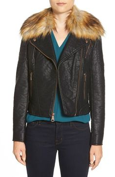 Marc New York 'Genna' Faux Fur Collar Faux Leather Moto Jacket available at #Nordstrom