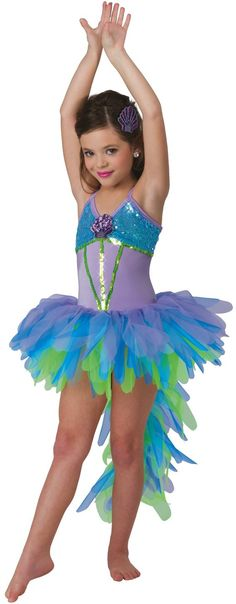 Iridescent sequin mesh over lavender spandex leotard. Separate multi colored tricot feathered tutu with attached tail. Appliqué and sequin trim. Made in the USA / Imported. Dance Costumes Kids, Tutu Costumes, Costume Ideas, Dance Outfits, Dance Dresses, Costume Poisson, Poppy Costume, Danza Tribal, Fish Costume