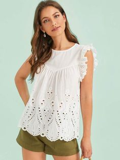 To find out about the Ruffle Armhole Schiffy Solid Top at SHEIN, part of our latest Blouses ready to shop online today! Sexy Blouse, Blouse Outfit, Blouse Styles, Blouse Designs, Lace Saree, Blouse Online, Summer Shirts, Silk Chiffon, Types Of Sleeves