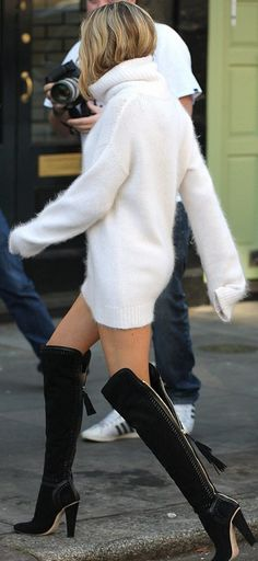 Sweater dress with over-the-knee boots. Swoon.
