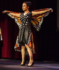 "Festival of Silk Painters Raises Hail in Santa Fe. Linda Duncan's ""Butterfly Dress with Cape"" during ""Changing Elements"" Fashion Show. Photo by Muffy Clark Gill."