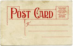 Aged Shabby Postcard Back Red Typography and Design ~ Free Vintage Christmas Graphic
