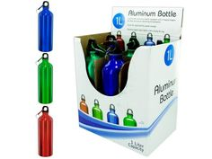 """1 Liter Aluminum Bottle Countertop Display, 6 - Stay hydrated while at the gym, on hikes or at sporting events with this lightweight aluminum bottle. Easily holds 1 liter of your favorite liquid. Bottle has a durable top that seals tightly with a heavy O-ring. Also comes with a carabiner attached to a key chain making it super easy to carry and attach to backpacks. Colors include blue, red and green. Bottles measure approximately 10 1/4"""" tall. There are 6 bottles packaged inside each…"""