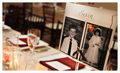 pictures of bride and groom representing the table number, table 8 = age 8