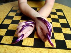 Tricia in *Purple Passion* Long Fingernails, Long Nails, Sexy Nails, Stiletto Nails, Curved Nails, Ballet Shoes, Dance Shoes, Passion, Purple