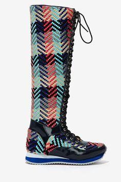 Jeffrey Campbell Melanie Knee High Sneaker - Woven at Nasty Gal