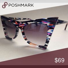 Wild fox sunnies 😍 Brand new with out the price tag.  No case, but will send with a NIKE gray pouch.  Purchased at Nordstrom Rack.   This piece is so playful, edge, colorful!!!! Enjoy;)😎💕💕 Wildfox Accessories Sunglasses