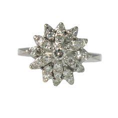 Vintage 14K White Gold Diamond Flower Form Ring, c. 1970s. $1800