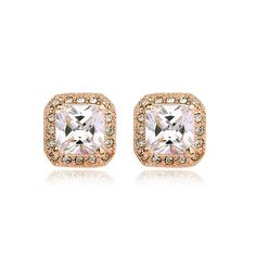 Earrings - Platinum or Gold Plated, Crystal Square Earrings, Diamond Earrings, Stud Earrings, 18k Rose Gold, 18k Gold, Austrian Crystal, Rose Gold Plates, Swarovski, Jewels