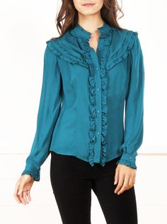 Haute Hippie Silk Chiffon Teal Ruffled Blouse