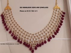 Necklace Designs For Men – Ruby jewelry necklaces - Ruby jewelry necklaces, Pearl jewelry necklace, Jewelry design necklace, Gold jewelry necklace, Gol - Pearl Necklace Designs, Beaded Jewelry Designs, Gold Jewellery Design, Bead Jewellery, Jewelry Necklaces, Silver Necklaces, Jewelery, Handmade Jewellery, Jewelry Patterns