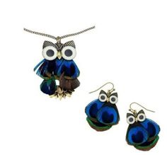 Elegant Exquisite Feather Owl Necklace Earrings Jewelry Set