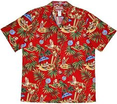 Christmas in Hawaii Men's Hawaiian (RJC) R. Clancey Shirt is Available in Blue and Red. RJC Brand creator's of quality made in Hawaii men's aloha shirt for over five decades. Christmas Hawaiian Shirts, Tropical Outfit, Aloha Shirt, Collar Styles, Matching Outfits, Lounge Wear, Button Up Shirts, Men Casual, Santa