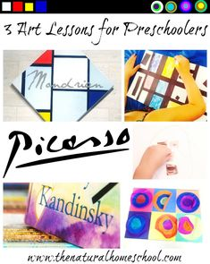 3 Art Lessons for Preschoolers: Picasso, Kandinsky, Mondrian - The Natural Homeschool - These 3 Art lessons for preschoolers are on our interpretations of Pablo Picasso, Piet Mondrian and - Preschool Art Lessons, Preschool Art Projects, Kindergarten Art, Lessons For Kids, Art Activities, Preschool Artist Theme, Art History Projects For Kids, Spring Activities, Kids Crafts