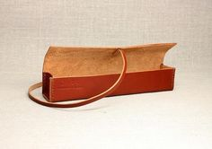 Hand-stitched pencil case in dark tan leather with by ChiiDesigns