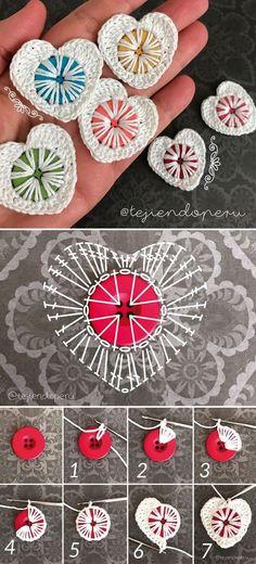 Crochet Heart Applique Free Patterns Knopf Herz häkeln The post Crochet Heart Applique Free Patterns appeared first on Welcome! Crochet Diy, Crochet Motifs, Crochet Buttons, Crochet Gifts, Free Buttons, Unique Crochet, Crochet Appliques, Beautiful Crochet, Crochet Ideas