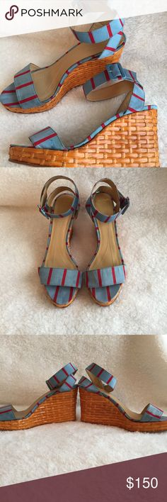 Kate spade cabana nautical turquoise wicker wedges These beautiful Kate spade wedges show some wear on the wicker as well as slight spotting on the front of the shoe (see photos) but they are not something you want to miss out on and have tons of life left in them! Snag these before they are gone! kate spade Shoes Wedges