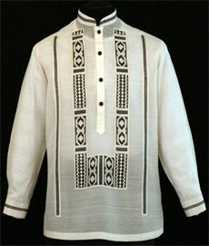 Expertly made in the finest Jusi fabric with ethnic embroidery design, our premium Barong Tagalog provides only the best in quality and construction.Color: Beige/EcruChinese Collar, cuff buttonsTraditional four black covered button frontFormal fit Barong Tagalog, Filipino Wedding, Filipiniana Dress, Philippines Fashion, Tribal Costume, Groomsmen Suits, Line Shopping, Men Sweater, Mens Fashion