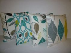 Teal Blue Green Gray PAIR Pillow Cushion Covers 4 CHOICES Mix Match Designer Throws Slips ideal colour palette but not pattern Teal Living Rooms, New Living Room, Living At Home, Modern Living, Teal Yellow Grey, Green And Grey, Colours That Go With Grey, Cushion Cover Designs, Cushion Covers