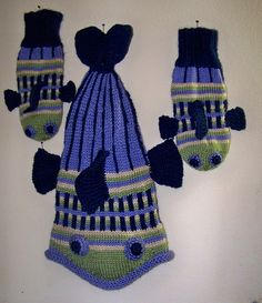 """I have been working on Fish Hats and decided to knit matching mittens. I was unable to find a specific pattern for Fish Mittens, so I did my own. Here are the """"how to's"""". Material…"""
