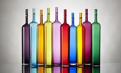 colorful handblown bottles http://www.vetrovero.com/limited-editions.html