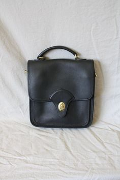 Vintage Black Leather Satchel / 1980's  by WindingRoadVintage