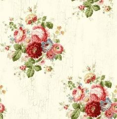Wallpaper Designer Victorian Blue Pink Red Green Floral Roses on Cream Faux Blue Roses Wallpaper, Cream Wallpaper, View Wallpaper, Pattern Wallpaper, Beautiful Wallpaper, Victorian Flowers, Victorian Decor, Vintage Flowers, Washable Wallpaper
