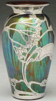 Loetz Silver Overlay Vase.