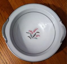 Noritake China CREST Oval Serving BOWL Pink Leucojum Flower Silver Trim 10 x7  & Home Studio Woodland Hand Painted Red Brown Bear Trees Dinner Plate ...