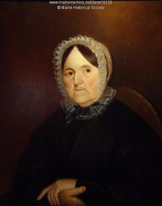 Sally Sayward Barrell Keating Wood, ca. 1820. By local legend this is a portrait of Sally Sayward Barrell Keating Wood (1759-1855), also known as Madame Wood, of Kennebunk. Madame Wood was Maine's first fiction writer. This portrait was most likely painted after she had settled in Kennebunk and lived with her granddaughter. Sally Wood (1759-1855) published the first books of fiction in the District of Maine. She was born in York. Item # 16130 on Maine Memory Network