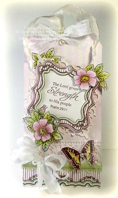 beautiful tag using Cast All Your Cares, Botanical Butterflies, and Ticking Stripe BG designed by Linda Duke