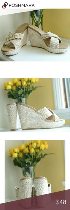 """NEW Splendid Woven Wedge Sandals These are beautiful nude & natural-hued woven wedges from Splendid. They're gorgeous, brand new, and perfect for the Spring & Summer season heading our way. :) Size 9, with a 4.5"""" heel. The upper is canvas. Splendid Shoes Wedges"""