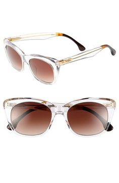 I've tried on the black/turquoise sunglasses, but these Vintage Crystal ones look perfect for Coachella!  TOMS 'Kitty' 53mm Sunglasses | Nordstrom