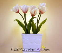 White and Red Tulips Centerpiece by ColdPorcelainArt on Etsy #tulips, #handcrafted, #coldporcelain, #clayflowers