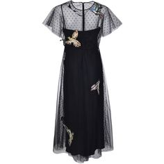 Red Valentino Bird Patches Tulle Dress (1,492,930 KRW) ❤ liked on Polyvore featuring dresses, black, red valentino dress, tulle dress and red valentino