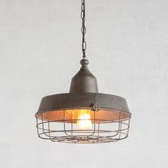 Features:  -Natural finish, metal, industrial pendant with caged bulb cover…
