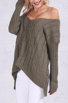 Green Crisscross Back High-Low Sweater