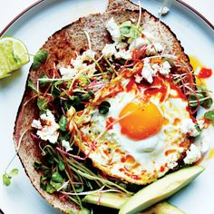 Chile-and-Olive-Oil-Fried Egg with Avocado and Sprouts #healthy
