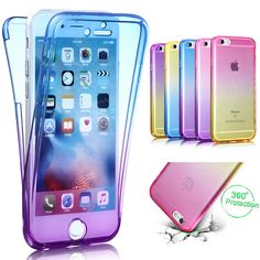 Luxury 360 Degree Full Body Protection Cover TPU Case for iPhone 6 6s 7 plus 5 5s se Gradient Transparent Silicone Cases Filp