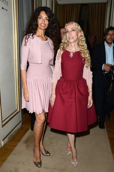 Franca Sozzani Photos - (L-R) Afef Jnifen and Franca Sozzani attend the Versace show as part of Paris Fashion Week Haute-Couture Fall/Winter 2013-2014 at  on June 30, 2013 in Paris, France. - PFW: Front Row at Versace