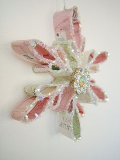 Vintage Topography Map Snowflake Ornament - PINK (1940s-1970s) by JenniferAllison on Etsy