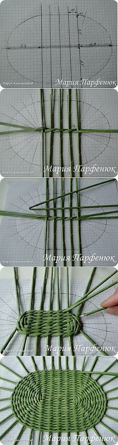 Weaving an oval basket bottom More
