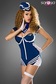 Retro Stewardess-Kostuem von Saresia roleplay blau-weiss 1-18179-120