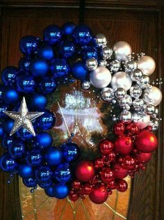 This would be a good patriotic wreath idea for memorial day, of July, etc. Could get Christmas ornaments really cheap after Christmas and keep the stock for future craft projects! Holiday Wreaths, Holiday Crafts, Holiday Fun, Christmas Decorations, Thanksgiving Holiday, Holiday Decorating, Christmas Ornaments, Holiday Ideas, Flag Wreath